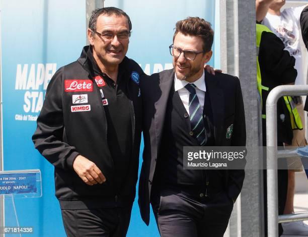 SSC Napoli coach Maurizio Sarri and US Sassuolo coach Eusebio Di Francesco prior the Serie A match between US Sassuolo and SSC Napoli at Mapei...
