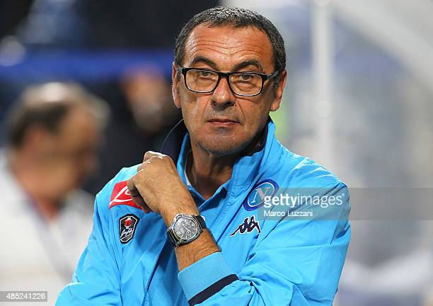 SSC Napoli coach Maurizio Sarri looks on before the Serie A match between US Sassuolo Calcio and SSC Napoli at Mapei Stadium Città del Tricolore on...