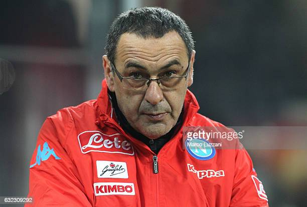 Napoli coach Maurizio Sarri looks on before the Serie A match between AC Milan and SSC Napoli at Stadio Giuseppe Meazza on January 21 2017 in Milan...