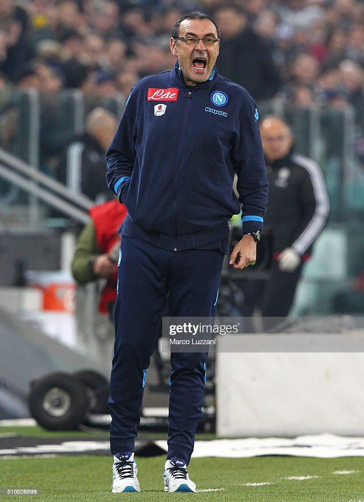 Napoli coach Maurizio Sarri shouts to his players during the Serie A match between and Juventus FC and SSC Napoli at Juventus Arena on February 13, 2016 in Turin, Italy.