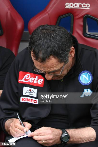 Napoli coach Maurizio Sarri writes down during the Serie A match between FC Torino and SSC Napoli at Stadio Olimpico di Torino on May 14 2017 in...
