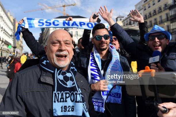 Napoli fans shout slogans in Madrid Nearly 10000 Napoli fans travel to Madrid to watch the UEFA Champions League match between Real Madrid and SSC...