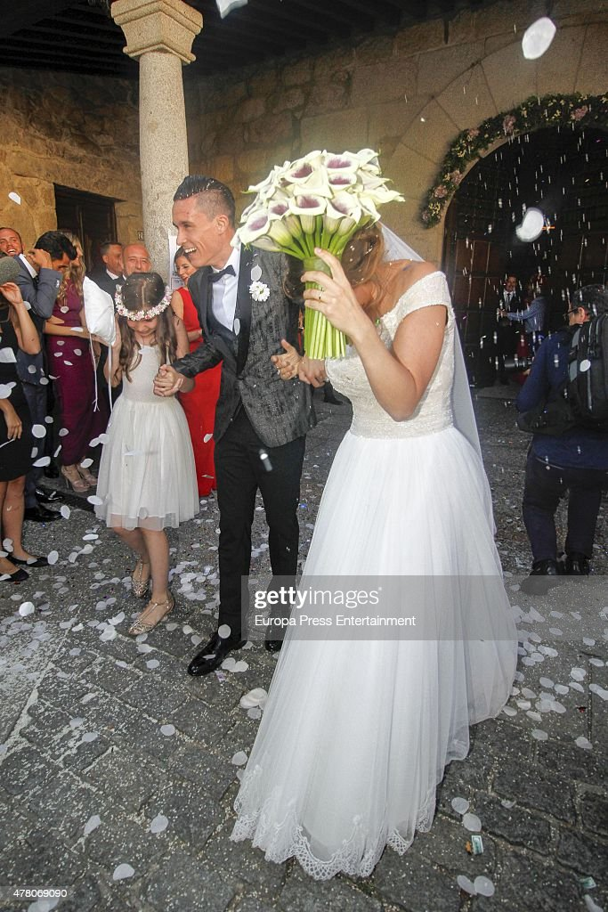 Napoli football player Jose Callejon and Marta Ponsati get married at Nuestra Senora de la Asuncion church on June 19, 2015 in Torrelodones, Spain.