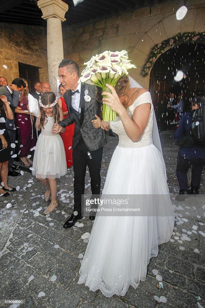 Napoli football player Jose Callejon and Marta Ponsati get married at Nuestra Senora de la Asuncion church on June 19 2015 in Torrelodones Spain
