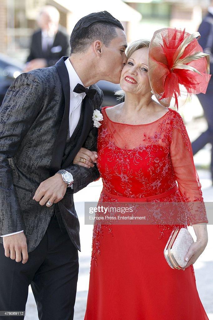 Napoli football player Jose Callejon attends his wedding with Marta Ponsati at Nuestra Senora de la Asuncion church on June 19, 2015 in Torrelodones, Spain.
