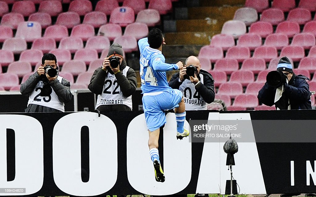 Napoli forward Lorenzo Insigne celebrates after scoring against Palermo on January 13, 2013 during a Serie A football match at the San Paolo Stadium in Naples.
