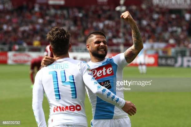 Napoli forward Lorenzo Insigne celebrates with Napoli forward Dries Mertens after scoring his goal during the Serie A match between FC Torino and SSC...