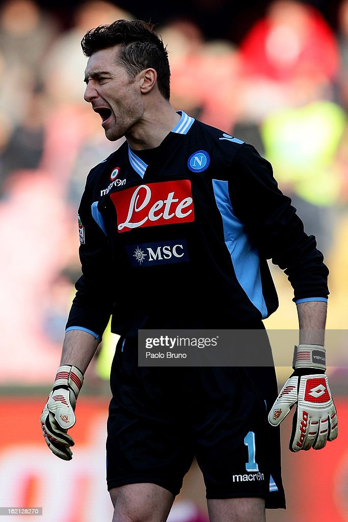 Napoli goalkeeper <a gi-track='captionPersonalityLinkClicked' href=/galleries/search?phrase=Morgan+De+Sanctis&family=editorial&specificpeople=615695 ng-click='$event.stopPropagation()'>Morgan De Sanctis</a> shouts during the Serie A match between SSC Napoli and UC Sampdoria at Stadio San Paolo on February 17, 2013 in Naples, Italy.