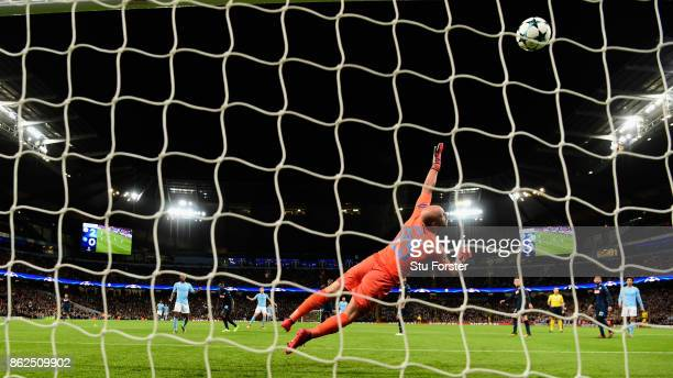 Napoli goalkeeper Pepe Reina is beaten by a shot from Kevin de Bruyne that hits the bar during the UEFA Champions League group F match between...