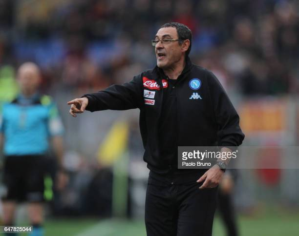Napoli head coach Maurizio Sarri gestures during the Serie A match between AS Roma and SSC Napoli at Stadio Olimpico on March 4 2017 in Rome Italy