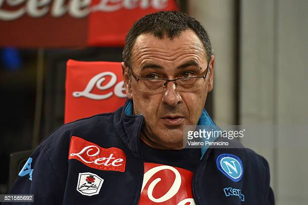 Napoli head coach Maurizio Sarri looks dejected prior to the Serie A match between FC Internazionale Milano and SSC Napoli at Stadio Giuseppe Meazza...