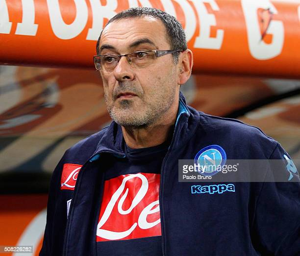 Napoli head coach Maurizio Sarri looks on during the Serie A match between SS Lazio and SSC Napoli at Stadio Olimpico on February 3 2016 in Rome Italy