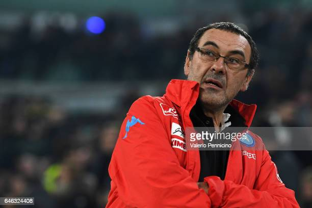 Napoli head coach Maurizio Sarri looks on during the TIM Cup match between Juventus FC and SSC Napoli at Juventus Arena on February 28 2017 in Turin...