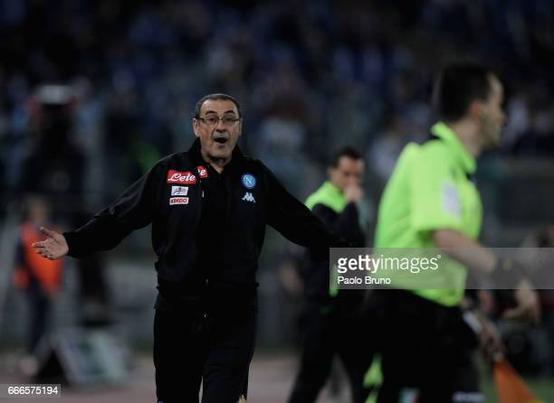 Napoli head coach Maurizio Sarri reacts during the Serie A match between SS Lazio and SSC Napoli at Stadio Olimpico on April 9 2017 in Rome Italy