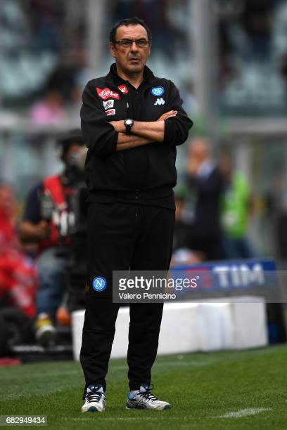 Napoli head coach Maurizio Sarri watches the action during the Serie A match between FC Torino and SSC Napoli at Stadio Olimpico di Torino on May 14...