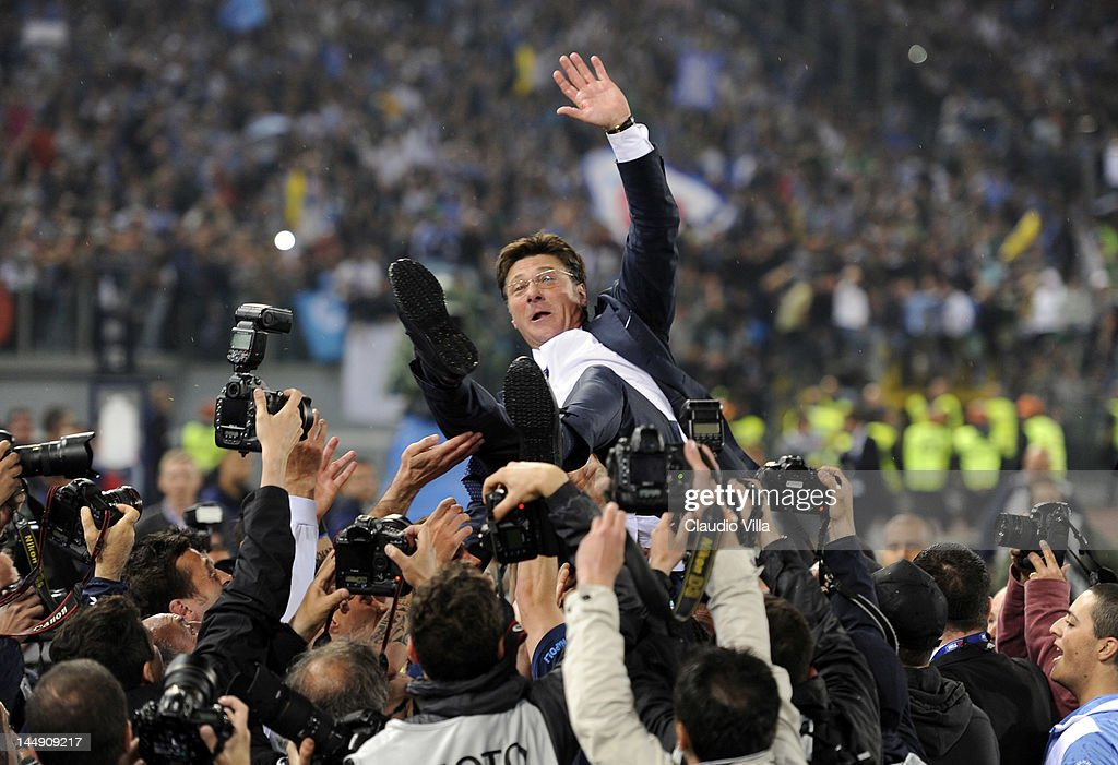 Napoli head coach <a gi-track='captionPersonalityLinkClicked' href=/galleries/search?phrase=Walter+Mazzarri&family=editorial&specificpeople=5314636 ng-click='$event.stopPropagation()'>Walter Mazzarri</a> celebrates after the Tim Cup Final between Juventus FC and SSC Napoli at Olimpico Stadium on May 20, 2012 in Rome, Italy.