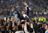 Napoli head coach Walter Mazzarri celebrates after the Tim Cup Final between Juventus FC and SSC Napoli at Olimpico Stadium on May 20 2012 in Rome...