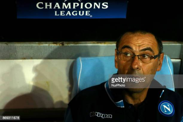 Napoli manager Maurizio Sarri during the UEFA Champions League football match Napoli vs Manchester City on November 1 2017 at the San Paolo stadium...