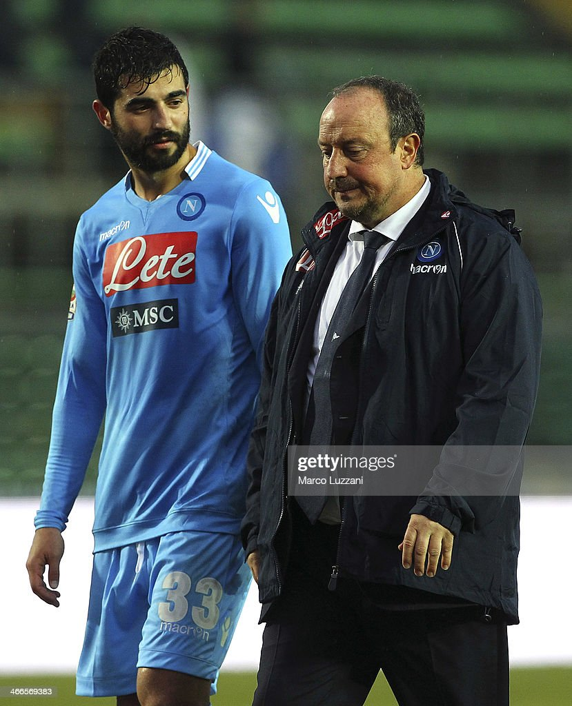 Napoli manager Rafael Benitez (R) and <a gi-track='captionPersonalityLinkClicked' href=/galleries/search?phrase=Raul+Albiol&family=editorial&specificpeople=206231 ng-click='$event.stopPropagation()'>Raul Albiol</a> of SSC Napoli leave the field disappointed at the end of the the Serie A match between Atalanta BC and SSC Napoli at Stadio Atleti Azzurri d'Italia on February 2, 2014 in Bergamo, Italy.