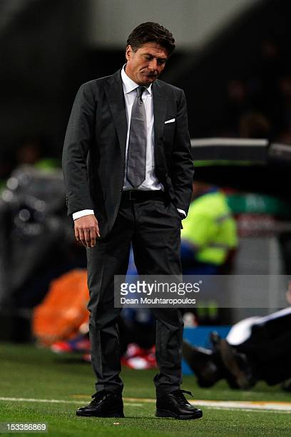 Napoli Manager Walter Mazzarri looks dejected during the UEFA Europa League Group F match between PSV Eindhoven and SSC Napoli at the Philips Stadion...