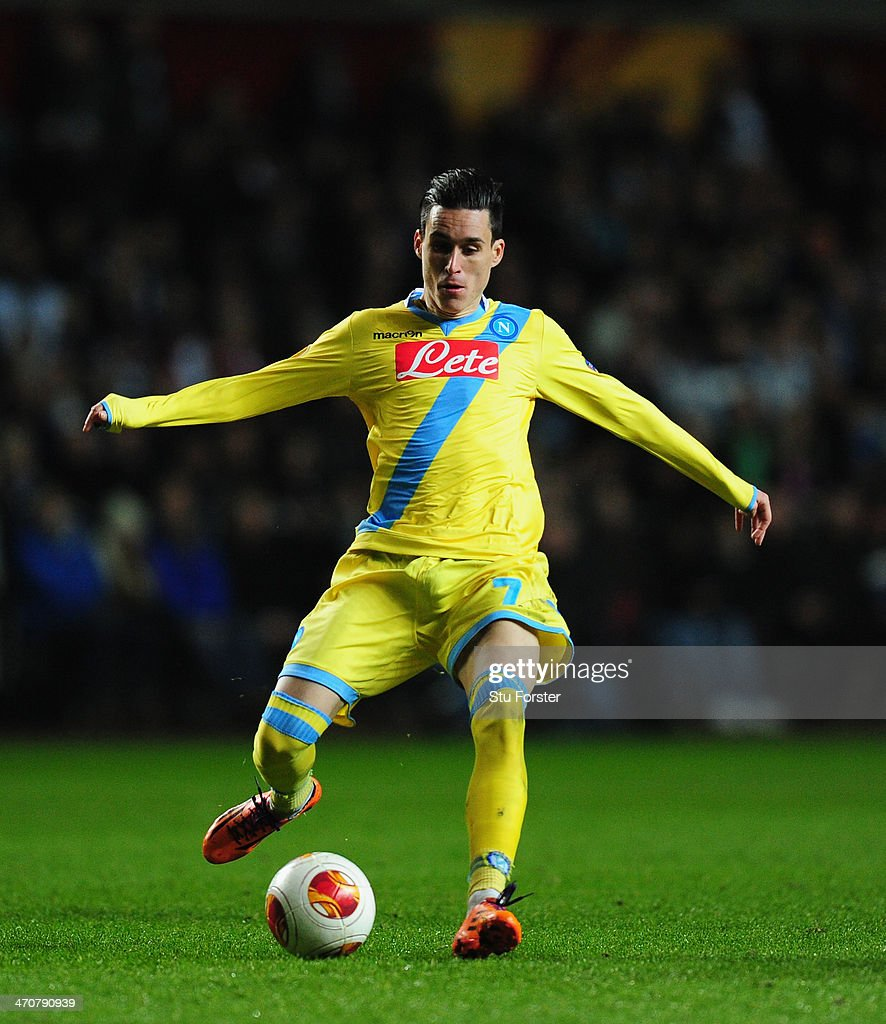 Napoli player Jose Callejon in action during the UEFA Europa League Round of 32 first leg between Swansea City and SSC Napoli at Liberty Stadium on...