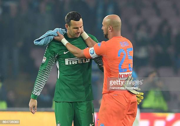 Napoli player Pepe Reina and FC Internazionale player Sami Handanovic hug each other after the Serie A match between SSC Napoli and FC Internazionale...