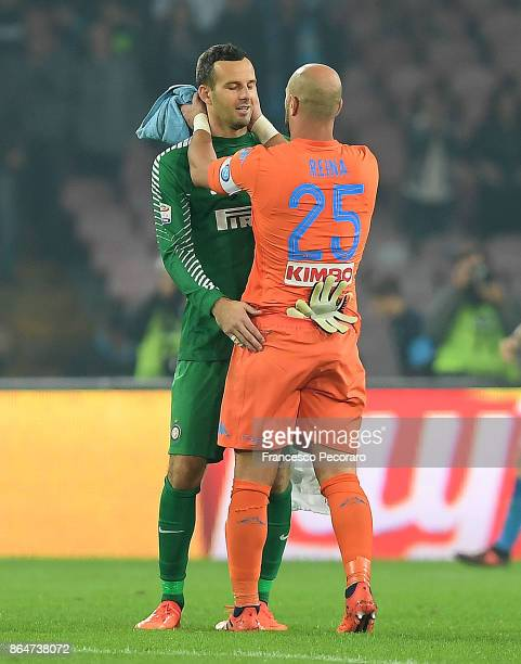 Napoli player Pepe Reina and FC Internazionale player Sami Handanovic hugh each other after the Serie A match between SSC Napoli and FC...