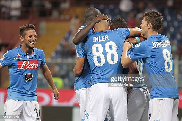 Napoli players celebrate a goal scored by Jonathan De Guzman during the Serie A match between Genoa CFC and SSC Napoli at Stadio Luigi Ferraris on...