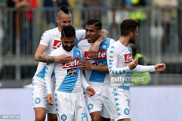 Napoli players celebrate a goal scored by Lorenzo Insigne during the Serie A match between Empoli FC and SSC Napoli at Stadio Carlo Castellani on...