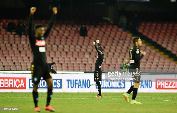 Napoli players Jose Callejon Allan and Amadou Diawara celebrate the victory after the TIM Cup match between SSC Napoli and ACF Fiorentina at Stadio...