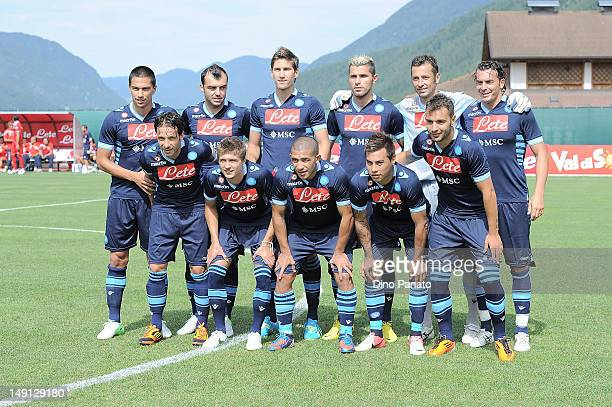 Napoli players poses before the preseason friendly match between SSC Napoli and US Grosseto on July 23 2012 in Dimaro near Trento Italy