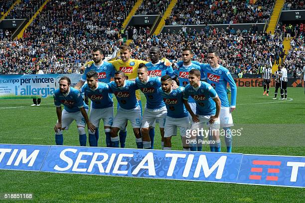 Napoli players poses before the Serie A match between Udinese Calcio and SSC Napoli at Stadio San Paolo on April 3 2016 in Naples Italy