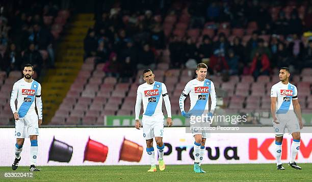 Napoli players Raul Albiol Allan Jorginho and Faouzi Ghoulam show their dejection during the Serie A match between SSC Napoli and US Citta di Palermo...