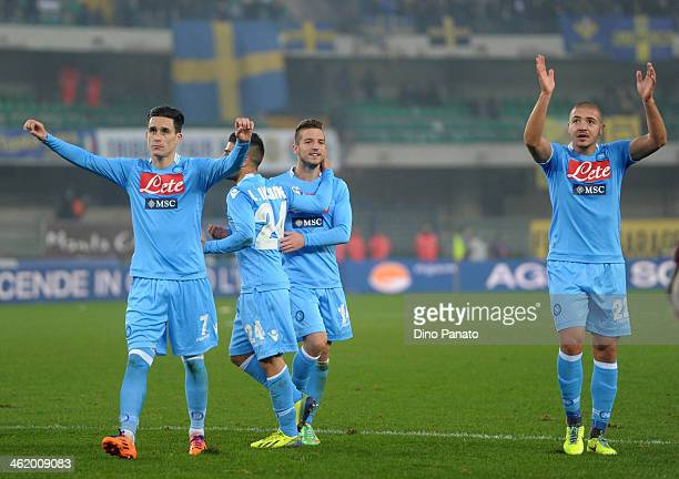 Napoli playesr celebrate victory after the Serie A match between Hellas Verona FC and SSC Napoli at Stadio Marc'Antonio Bentegodi on January 12 2014...