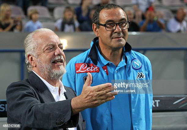 SSC Napoli president Aurelio De Laurentiis and SSC Napoli coach Maurizio Sarri before the Serie A match between US Sassuolo Calcio and SSC Napoli at...