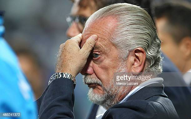 SSC Napoli president Aurelio De Laurentiis looks on before the Serie A match between US Sassuolo Calcio and SSC Napoli at Mapei Stadium Città del...