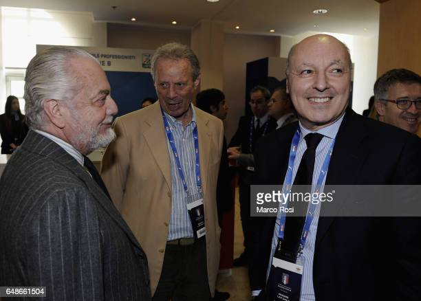 Napoli President Aurelio De Laurentis and Palermo president Maurizio Zamparini and Juventus General Director Giuseppe Marotta attend the Italian...