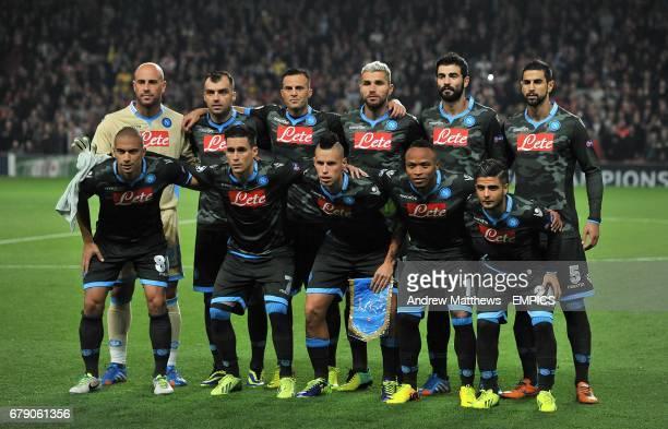 Napoli team group Pepe Reina Goran Pandev Giandomenico Mesto Valon Behrami Raul Albiol and Miguel Britos Gokhan Inler Jose Callejon Juan Zuniga and...
