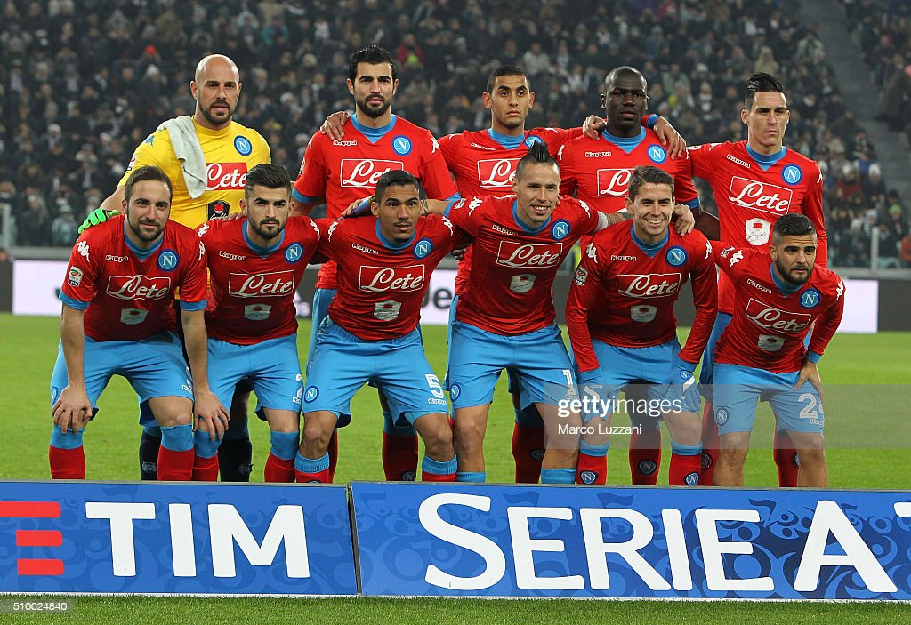 Napoli team line up before the Serie A match between and Juventus FC and SSC Napoli at Juventus Arena on February 13, 2016 in Turin, Italy.