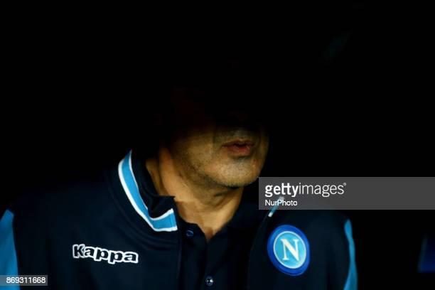 Napoli trainer Maurizio Sarri during the UEFA Champions League football match Napoli vs Manchester City on November 1 2017 at the San Paolo stadium...