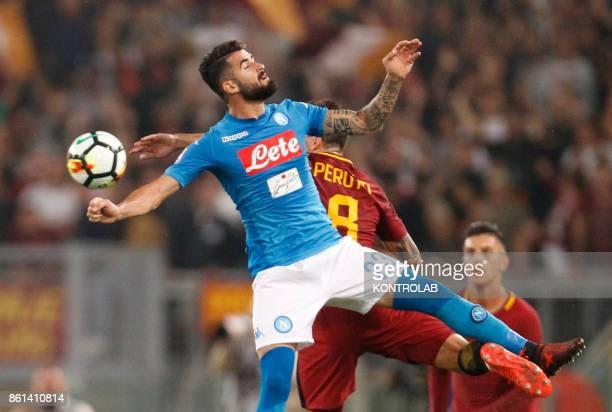 OLIMPICO ROME LAZIO ITALY Napoli's Albanian defender Elseid Hysaj heads the ball during the Italian Serie A football match AS Roma vs SSc Napoli at...