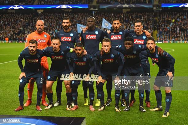 Napoli's Albanian defender Elseid Hysaj Napoli's Spanish goalkeeper Pepe Reina Napoli's Slovakian midfielder Marek Hamsik Napoli's Spanish defender...