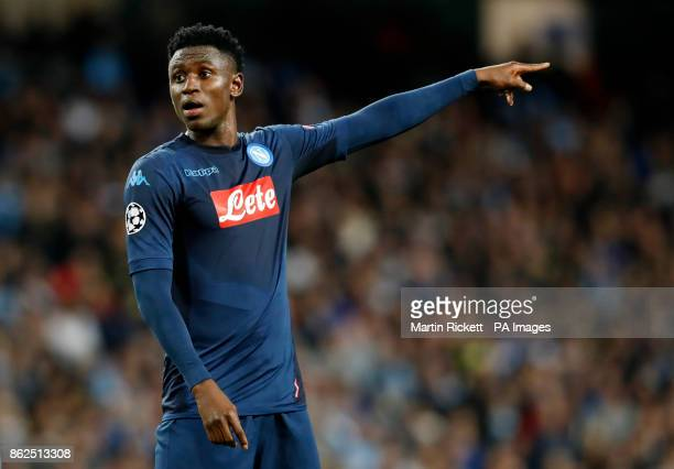 Napoli's Amadou Diawara during the UEFA Champions League group F match at The Etihad Stadium Manchester PRESS ASSOCIATION Photo Picture date Tuesday...