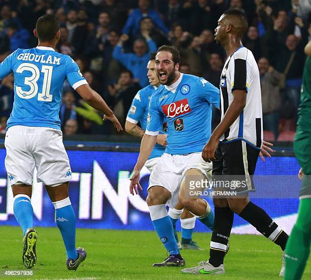 Napoli's ArgentinianFrench forward Gonzalo Higuain celebrates after scoring during the Italian Serie A football match SSC Napoli vs Udinese Calcio on...