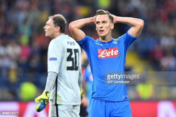 SSC Napoli's Arkadiusz Milik reacts during the UEFA Champions League Group F football match between FC Shakhtar Donetsk and SSC Napoli at The...