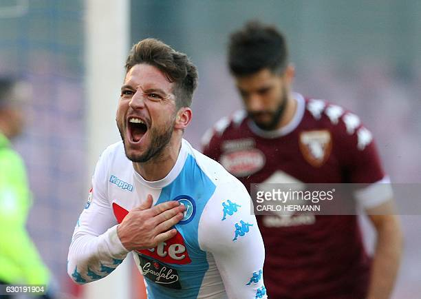 Napoli's Belgian forward Dries Mertens celebrates after scoring a goal during an Italian Serie A football match between SSC Napoli and Torino FC on...