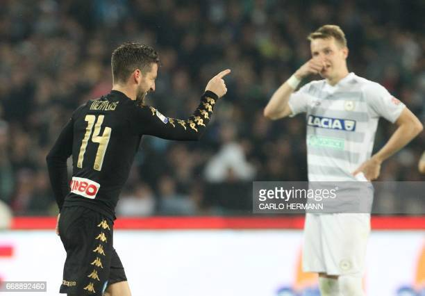 Napoli's Belgian forward Dries Mertens celebrates after scoring during the Italian Serie A football match SSC Napoli vs Udinese Calcio on April 15...