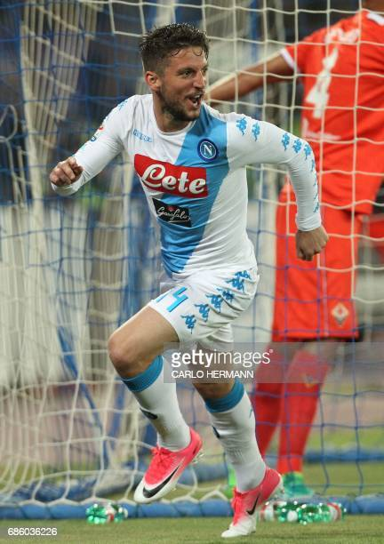 Napoli's Belgian forward Dries Mertens celebrates after scoring during the Italian Serie A football match SSC Napoli vs Fiorentina ACF on May 20 2017...