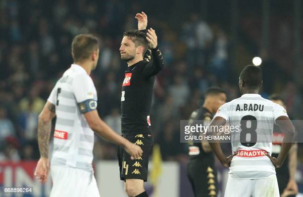 Napoli's Belgian forward Dries Mertens celebrates after scoring the Italian Serie A football match SSC Napoli vs Udinese Calcio on April 15 2017 at...
