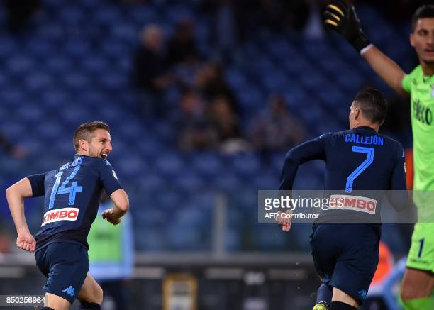 Napoli's Belgian forward Dries Mertens celebrates with teammate Spanish forward Jose Maria Callejon after scoring during the Italian Serie A football...